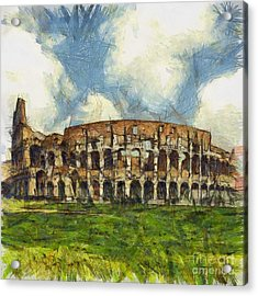 Colosseum Pencil Acrylic Print by Sophie McAulay