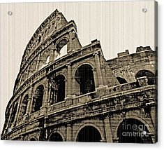 Acrylic Print featuring the photograph Colosseum Rome - Old Photo Effect by Cheryl Del Toro