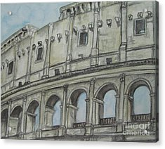 Acrylic Print featuring the painting Colosseum Rome Italy by Malinda  Prudhomme
