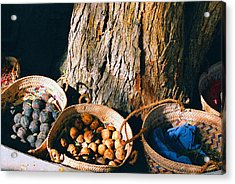 Acrylic Print featuring the photograph Coloured Baskets by Cassandra Buckley