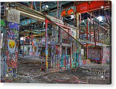 Coloured Dereliction Acrylic Print by David Birchall
