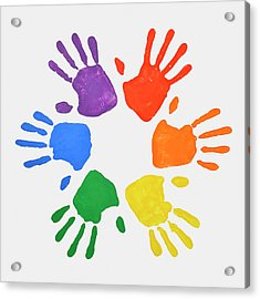 Coloured Handprints Facing Outwards Acrylic Print by David Malan