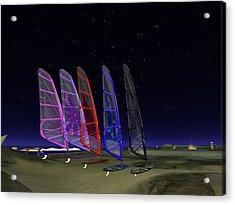 Acrylic Print featuring the digital art Coloured Sails by Susanne Baumann