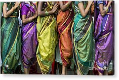 Colourful Sari Pattern Acrylic Print by Tim Gainey