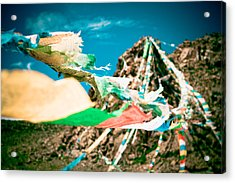 Colourfull Praying Buddhist Flags Lungta And Mountain At Background Acrylic Print