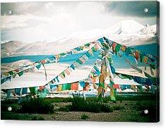 Colourfull Praying Buddhist Flags Lungta  Acrylic Print by Raimond Klavins