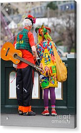 Colourfully Dressed Buskers Pause On The Way Home Acrylic Print