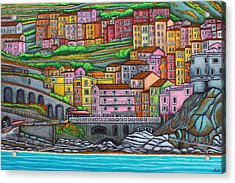 Colours Of Manarola Acrylic Print by Lisa  Lorenz