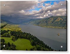 Columbia River Gorge Rain Clouds Acrylic Print by Tristina Yarzombek