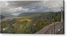 Acrylic Print featuring the photograph Columbia River Gorge View From Crown Point by JPLDesigns