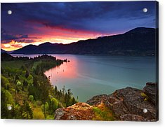 Columbia Sunset Acrylic Print by Darren  White