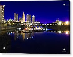 Columbus - City Reflection Acrylic Print by Shane Psaltis