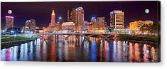 Columbus Skyline At Night Color Panorama Ohio Acrylic Print by Jon Holiday