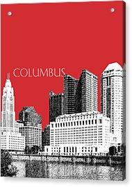 Columbus Skyline - Red Acrylic Print by DB Artist
