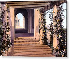 Columns And Flowers Acrylic Print by Terry Reynoldson