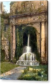 Columns And Waterfall Acrylic Print by Terry Reynoldson