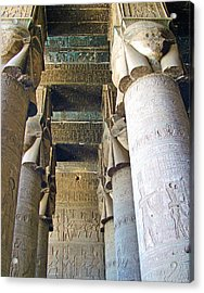 Columns In Temple Of Hathor Near Dendera In Qena-egypt Acrylic Print by Ruth Hager
