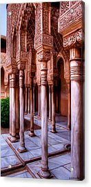 Columns Of The Court Of The Lions - Painting Acrylic Print