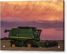 Combine At Sunset Acrylic Print by Rob Graham