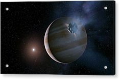 Comet Approaching Jupiter Acrylic Print