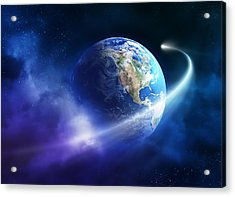 Comet Moving Passing Planet Earth Acrylic Print by Johan Swanepoel