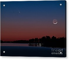 Comet Panstarrs And Crescent Moon Acrylic Print