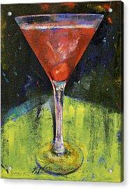 Comfortable Cherry Martini Acrylic Print by Michael Creese