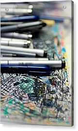 Comic Book Artists Workspace Study 1 Acrylic Print by Amy Cicconi