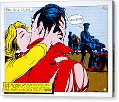 Comic Strip Kiss Acrylic Print by MGL Studio