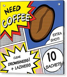Comic Stripes Of Coffee Drink Acrylic Print by Neens