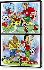 Comics About Eurofootball. First Page. Acrylic Print by Vitaliy Shcherbak