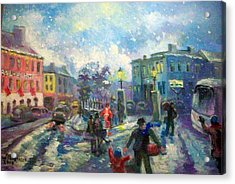 Acrylic Print featuring the painting Coming Home For X Mas by Paul Weerasekera