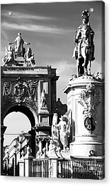 Commerce Square Statues Acrylic Print by John Rizzuto