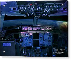 Commercial Airplane Cockpit By Night Acrylic Print by Gunter Nezhoda