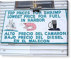Commercial Shrimp Business In Ft Myers Florida Posted Sign Acrylic Print by Robert Birkenes