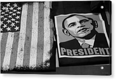 Commercialization Of The President Of The United States In Balck And White Acrylic Print by Rob Hans
