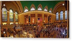 Commuters At A Railroad Station, Grand Acrylic Print by Panoramic Images