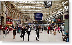 Commuters At A Railroad Station Acrylic Print by Panoramic Images