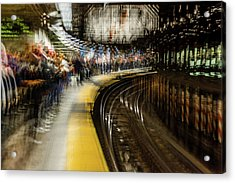 Commuters In Nyc Subway System Acrylic Print