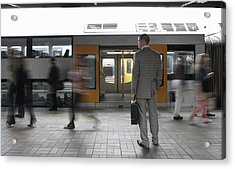 Commuters Passing Businessman On Platform,  (blurred Motion) Acrylic Print by Toby Burrows