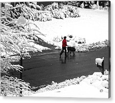 Companions Walking On Christmas Morning Acrylic Print by Sandi OReilly