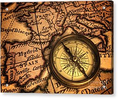 Compass And Ancient Map Of Europe Acrylic Print