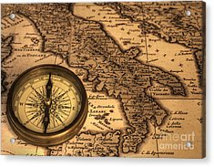 Compass And Ancient Map Of Italy Acrylic Print