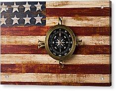 Compass On Wooden Folk Art Flag Acrylic Print by Garry Gay