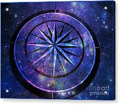 Compass With A Galaxy Acrylic Print
