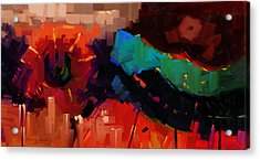 Complex 1 - Red Abstract Painting Acrylic Print by Kanayo Ede
