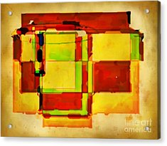 Compsiton In Sepia Browns And Green Acrylic Print by John Malone