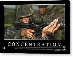 Concentration Inspirational Quote Acrylic Print by Stocktrek Images