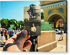 Conceptual Comparison With Old Photograph Outdoors Acrylic Print by Georgy Dorofeev / EyeEm