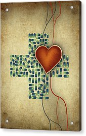 Conceptual Illustration Of Heart Over Cross Shaped Capsules Acrylic Print by Fanatic Studio / Science Photo Library